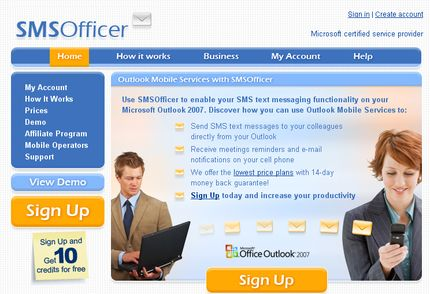 Use SMSOfficer to enable your SMS text messaging functionality on your Microsoft Outlook 2007